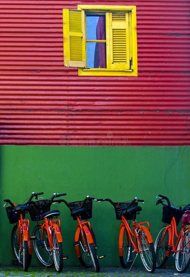 La Boca. Bicycles in the Colorful neighbourhoud of La Boca, Bueonos Aires, Argentina stock images