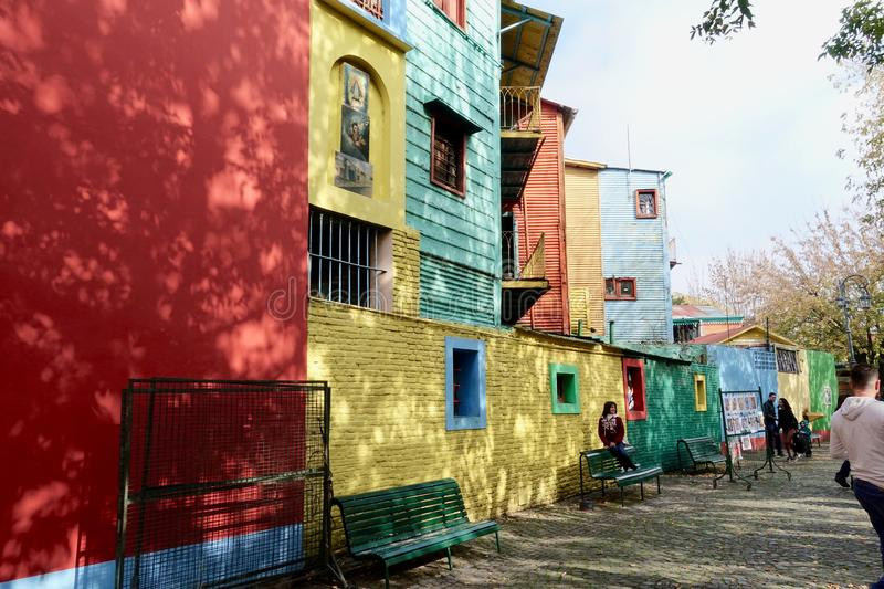 La Boca area of Buenos Aires. Buenos Aires/Argentina-5/27/19: La Boca is a working-class area with attractions near the Riachuelo River. Steakhouses and street stock photos
