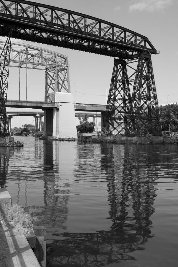 La Boca bridge view. View of La Boca harbour, Buenos Aires, Argentina royalty free stock photos