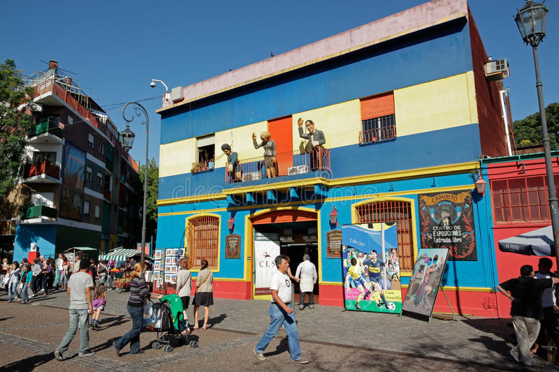 La Boca, Buenos Aires. Caminito street, La Boca, with colorfully painted buildings which is a major tourist attraction - Buenos Aires, Argentina, 27 March 2011 royalty free stock image