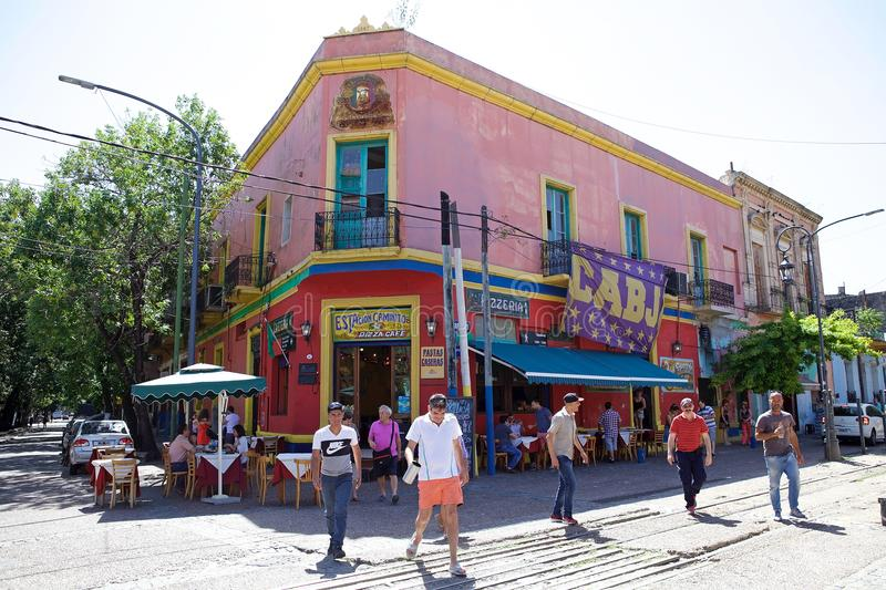 La Boca in Buenos Aires, Argentina. People and traditional restaurant along the Caminito, a walkway, in La Boca in Buenos Aires, Argentina. La Boca is a royalty free stock photo