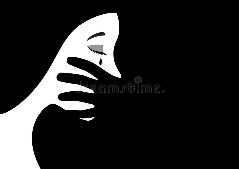 La boca de la mujer de la cubierta de la mano ilustración del vector