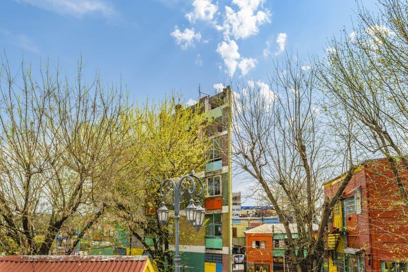 La Boca Neighborhood, Argentina. Aerial view buildings at famous la boca neighborhood, Buenos Aires royalty free stock images