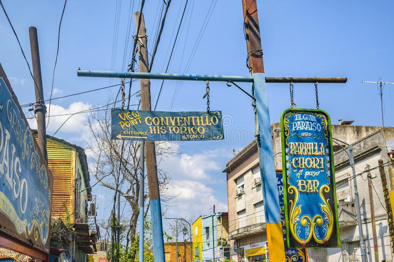 La Boca Neighborhood, Argentina. BUENOS AIRES, ARGENTINA, SEPTEMBER - 2018 - Exterior view of traditional artistic signs at famous la boca neighborhood, Buenos royalty free stock photography