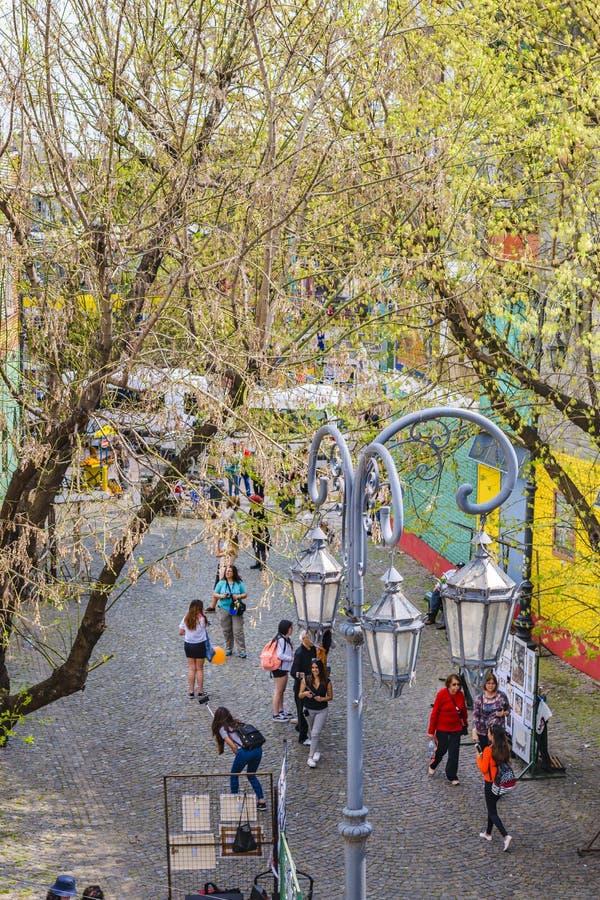 La Boca Neighborhood, Argentina. BUENOS AIRES, ARGENTINA, SEPTEMBER - 2018 - High angle traditional street at famous la boca neighborhood, Buenos Aires stock photo