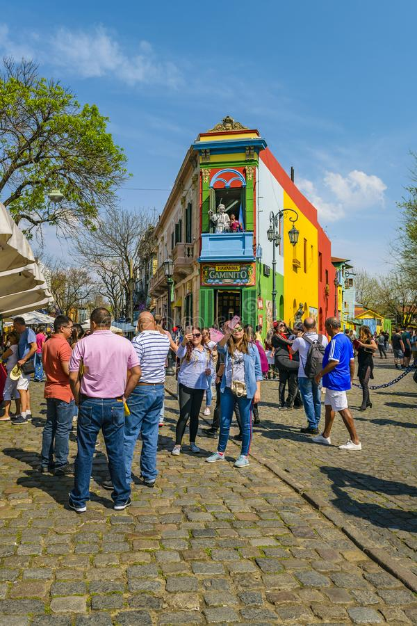 La Boca Neighborhood, Argentina. BUENOS AIRES, ARGENTINA, SEPTEMBER - 2018 - Traditional street at famous la boca neighborhood, Buenos Aires royalty free stock images