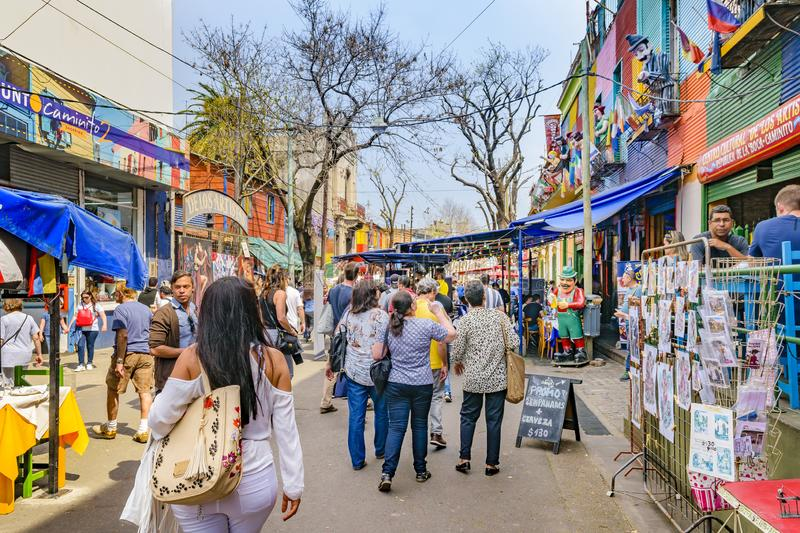 La Boca Neighborhood, Argentina. BUENOS AIRES, ARGENTINA, SEPTEMBER - 2018 - Traditional street at famous la boca neighborhood, Buenos Aires stock photo