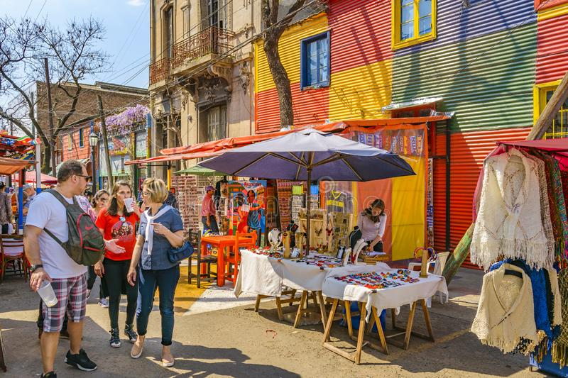 La Boca Neighborhood, Argentina. BUENOS AIRES, ARGENTINA, SEPTEMBER - 2018 - Traditional street at famous la boca neighborhood, Buenos Aires stock image