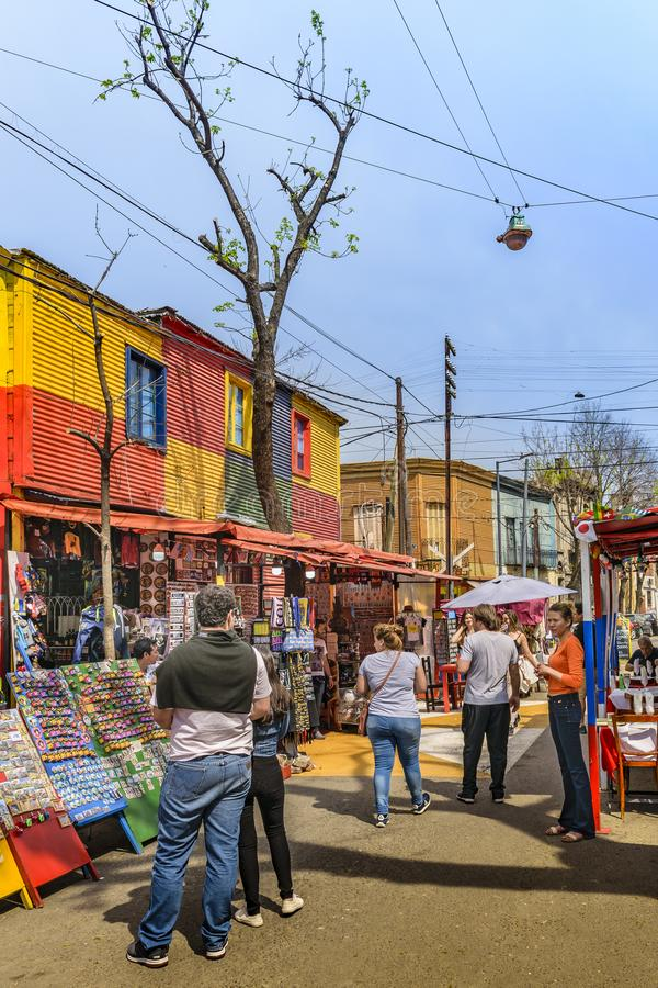La Boca Neighborhood, Argentina. BUENOS AIRES, ARGENTINA, SEPTEMBER - 2018 - Traditional street at famous la boca neighborhood, Buenos Aires royalty free stock photos