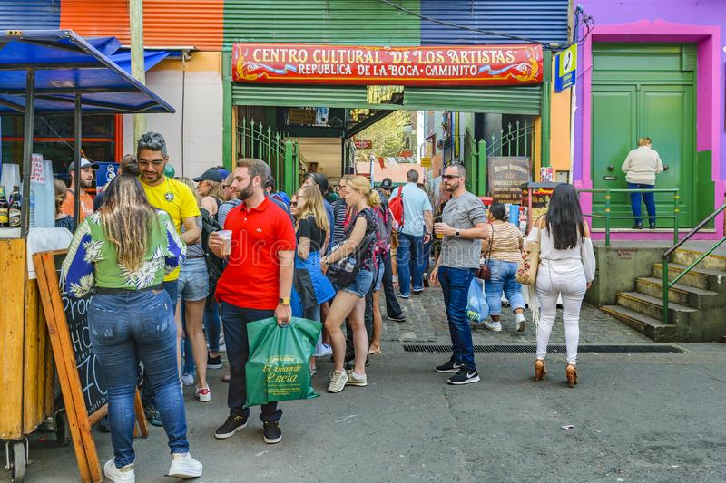 La Boca Neighborhood, Argentina. BUENOS AIRES, ARGENTINA, SEPTEMBER - 2018 - Traditional street at famous la boca neighborhood, Buenos Aires stock images