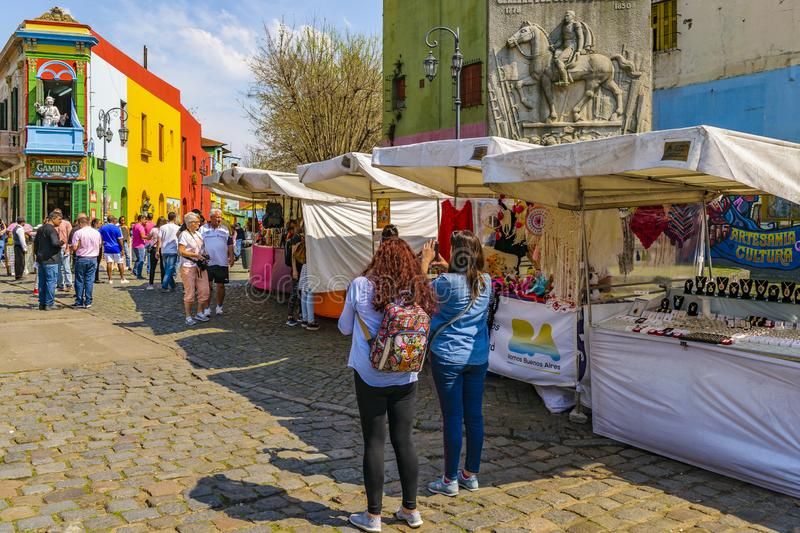 La Boca Neighborhood, Argentina. BUENOS AIRES, ARGENTINA, SEPTEMBER - 2018 - Traditional street at famous la boca neighborhood, Buenos Aires stock photos