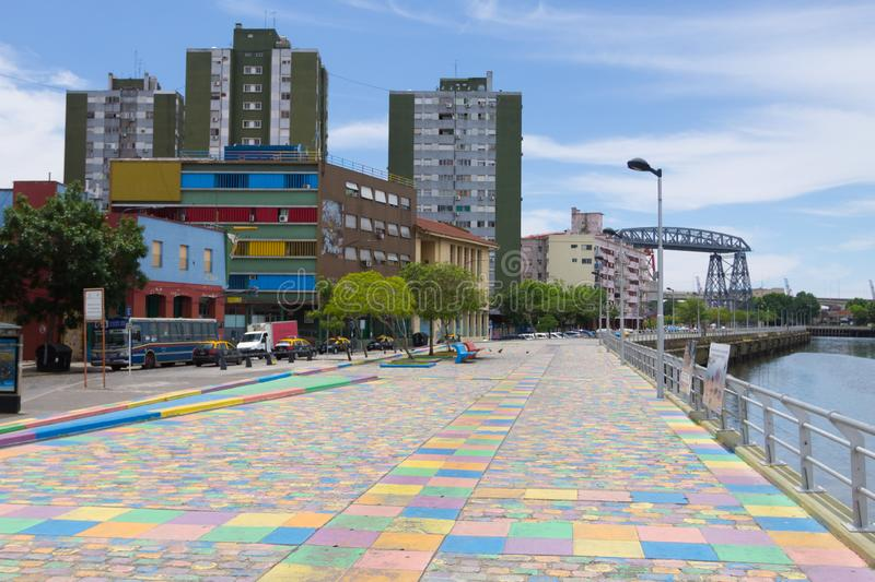 La Boca neighborhood with few people, Buenos Aires. La Boca neighborhood view with few people, Buenos Aires. Painted riverwalk, argentina, caminito, architecture stock photos