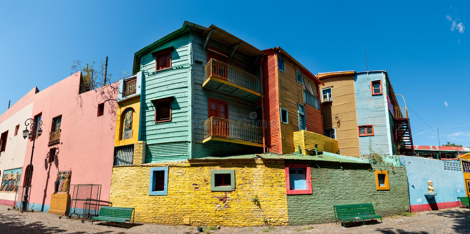 La Boca Panoma colorful neighborhood, Buenos Aires Argentine. Panorama of the historic colorful neighborhood La Boca, Buenos Aires Argentine royalty free stock image