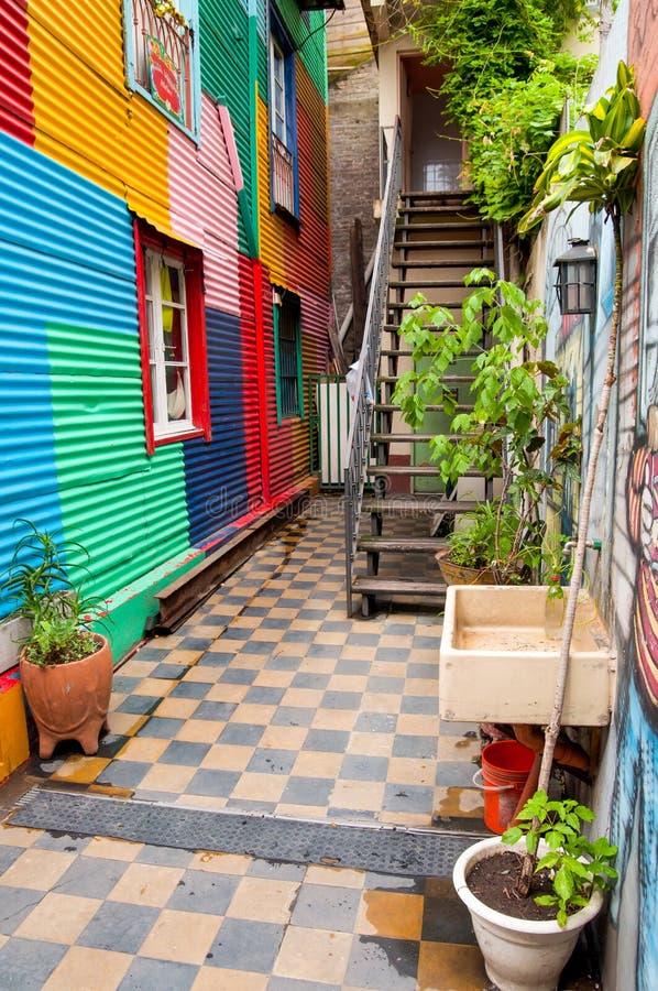 La Boca, ruas famosas de Buenos Aires no La de um quarto Boca imagens de stock