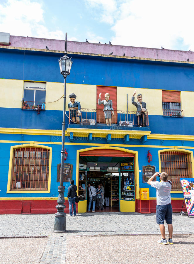 La Boca Street with Tourists. A colorful street in the Caminito section of the La Boca section of Buenos Aires in Argentina royalty free stock photos