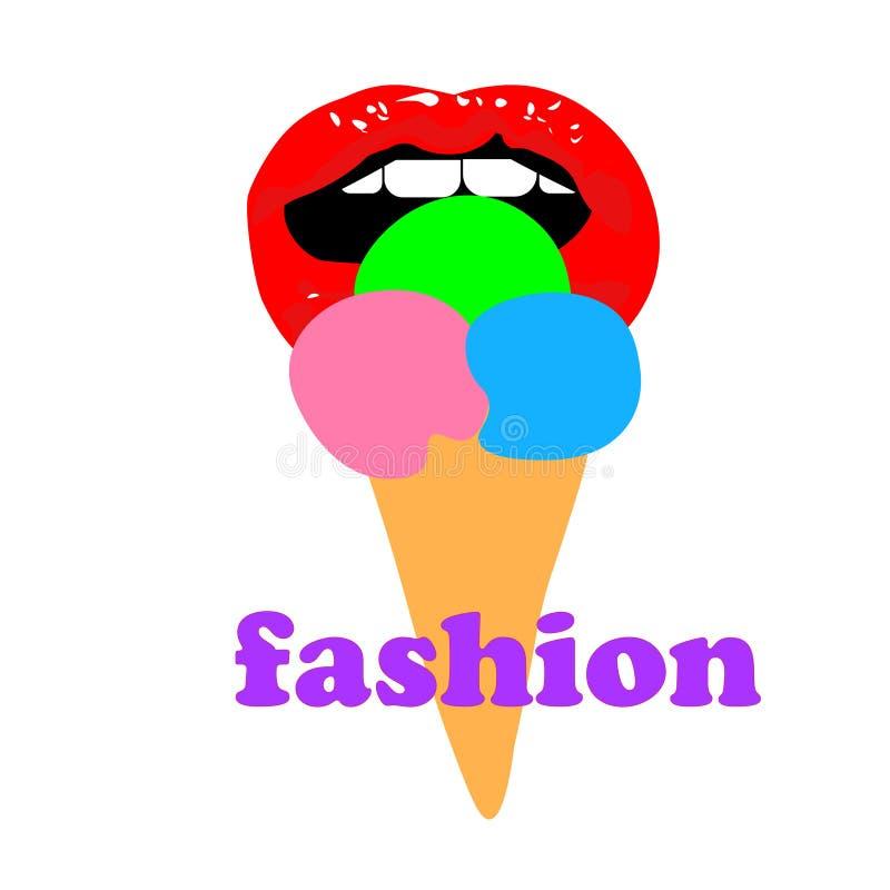 La bocca aperta della ragazza di web e mangia il gelato del ghiacciolo La donna lecca un gelato sul bastone Sensuale illustrazione di stock