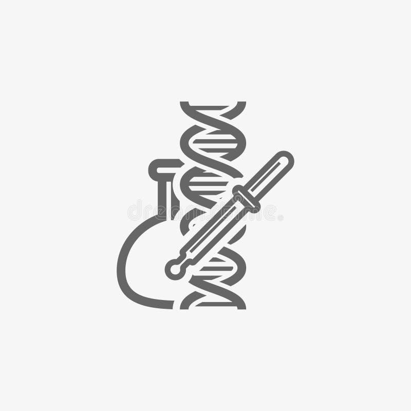 La boccetta del laboratorio con la pipetta ed il DNA vector l'icona illustrazione di stock