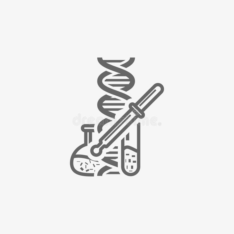 La boccetta del laboratorio con la pipetta ed il DNA vector l'icona illustrazione vettoriale