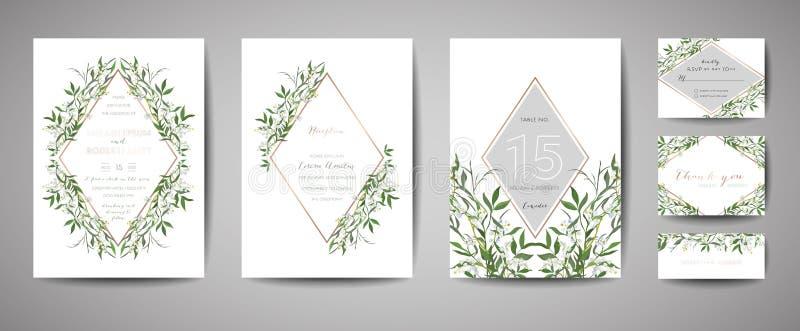 La boda de lujo del vintage de la flor ahorra la fecha, colección floral de las tarjetas de la invitación con el marco de la hoja ilustración del vector