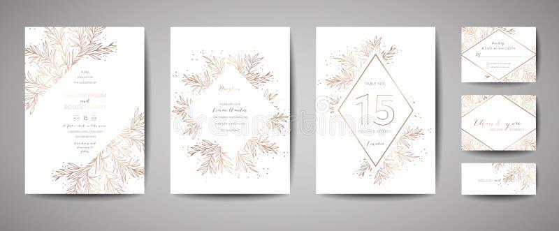 La boda de lujo del vintage de la flor ahorra la fecha, colección floral de las tarjetas de la invitación con el marco de la hoja stock de ilustración