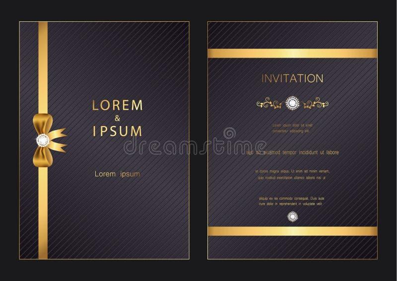 La boda de oro moderna de lujo, invitación, celebración, saludo, enhorabuena carda la plantilla del fondo del modelo con el diama ilustración del vector