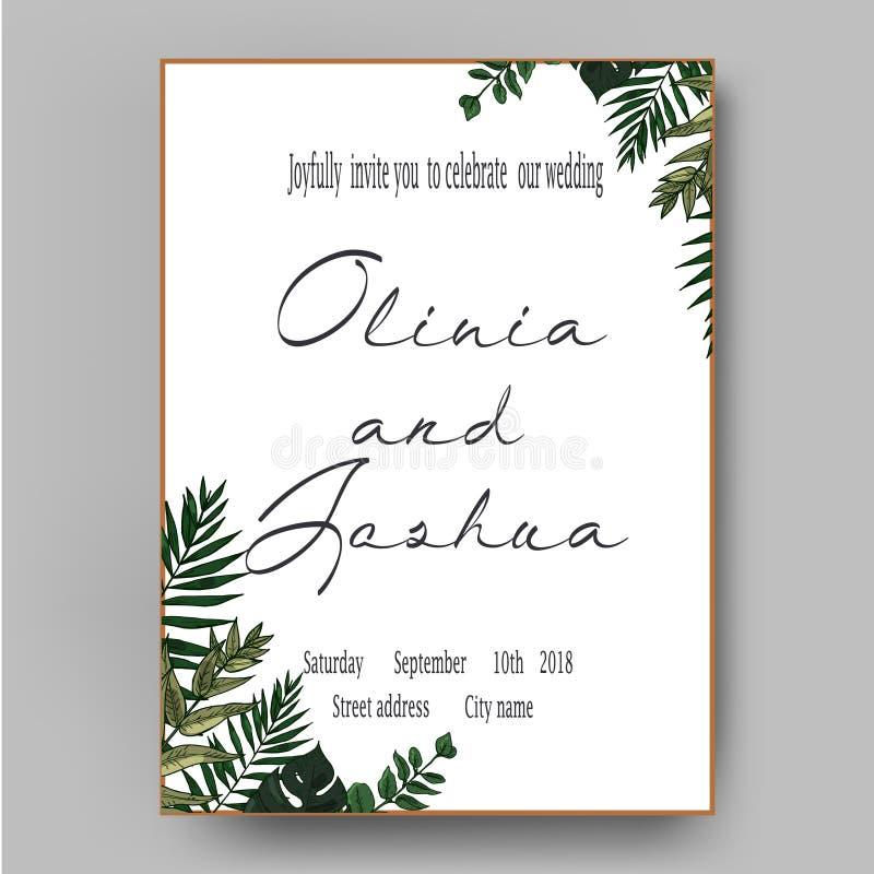La boda del vector invita a reserva de la invitación el diseño de tarjeta floral de la fecha El helecho verde, bosque sale de las ilustración del vector