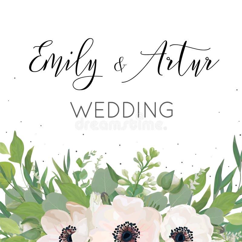 La boda floral del vector invita, invitación, ahorra el DES de la tarjeta de fecha stock de ilustración