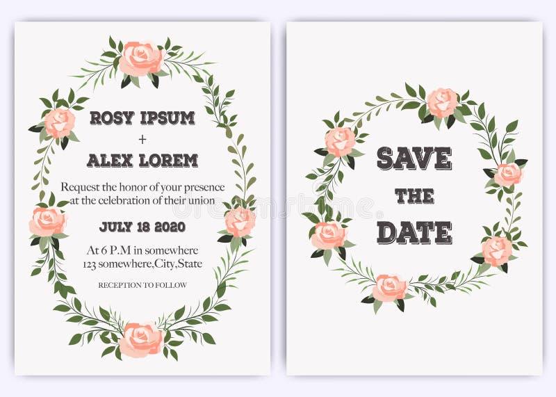 La boda invita, invitación, ahorra el diseño de tarjeta de fecha con lavanda elegante que subió el jardín rosado anémona stock de ilustración