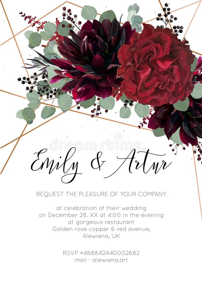 La boda invita, invitación salvo el diseño floral de la tarjeta de fecha Rojo stock de ilustración