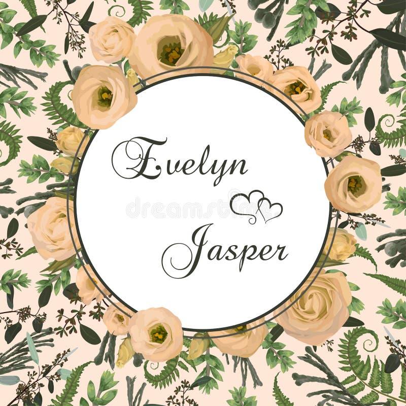 La boda, invitación, floral, tarjeta, vector, helecho, diseño, acuarela, invita, enmarca, fondo, vintage, flores, flor, stock de ilustración