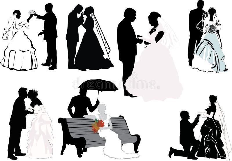 La boda junta la colección ilustración del vector