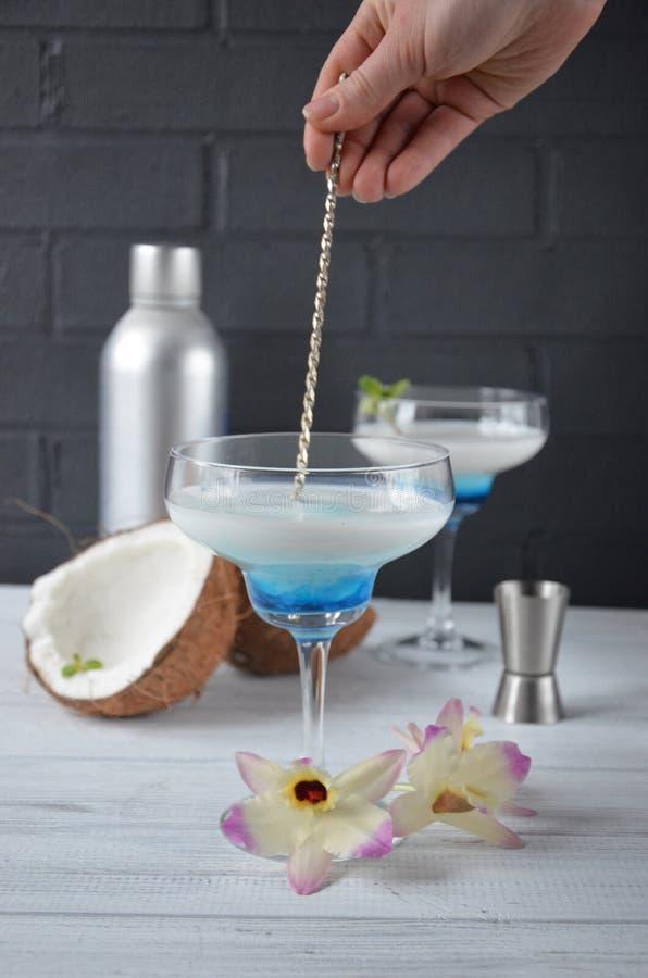La boisson de colada de Pina en verre de cocktail décoré de la noix de coco et de l'orchidée fleurit image stock