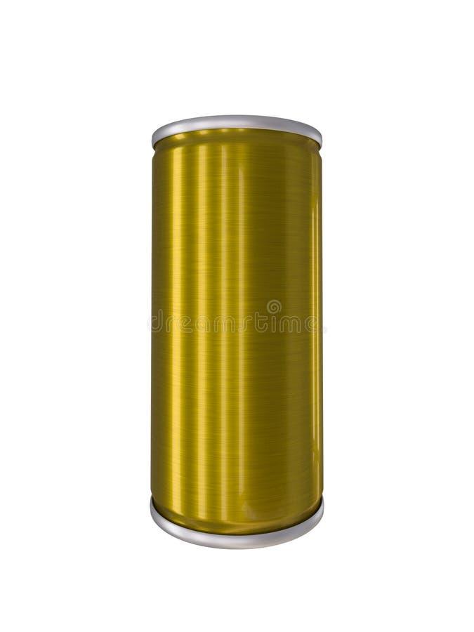 La boisson en aluminium d'or jaune peut d'isolement avec le chemin de coupure photos stock