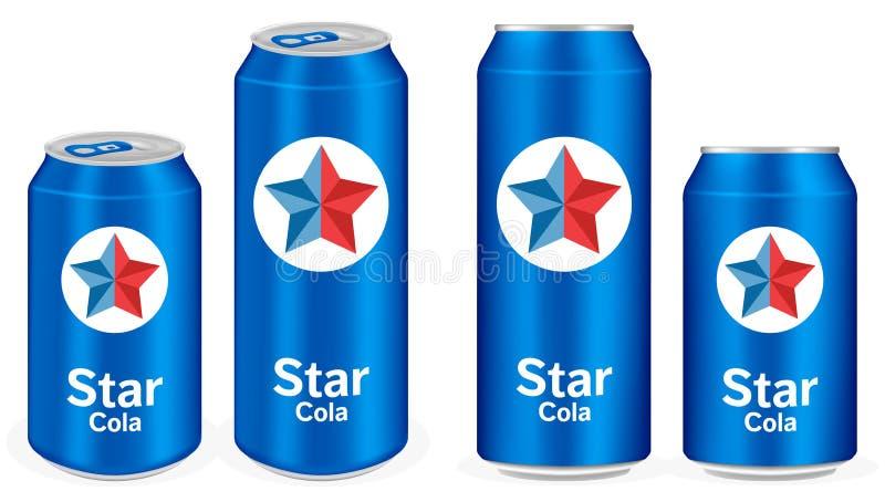 La boisson non alcoolisée en aluminium de kola bleu met en boîte le vecteur illustration de vecteur
