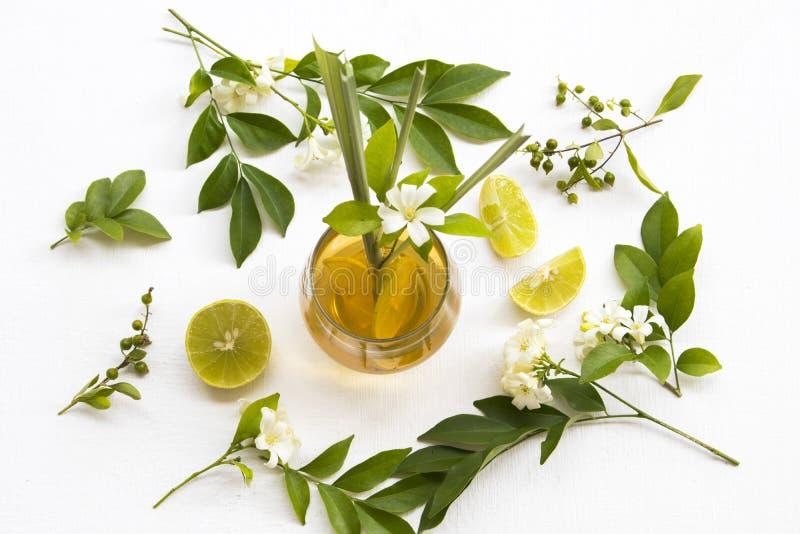 La boisson saine de fines herbes naturelle pour le mélange endolori de toux a monté thé, citron photo libre de droits
