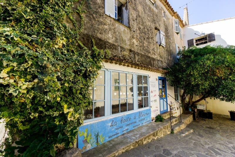 La Boite a Fleurs, a typical Provencal shop in the picturesque village of Ramatuelle, Var, France stock images