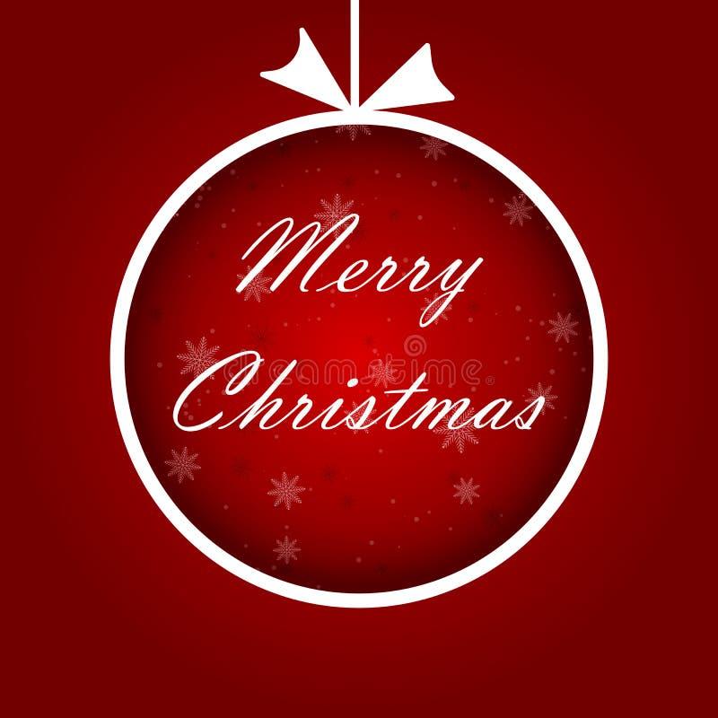 La bola abstracta de la Navidad cutted del documento sobre fondo rojo Ilustración del vector eps10 stock de ilustración