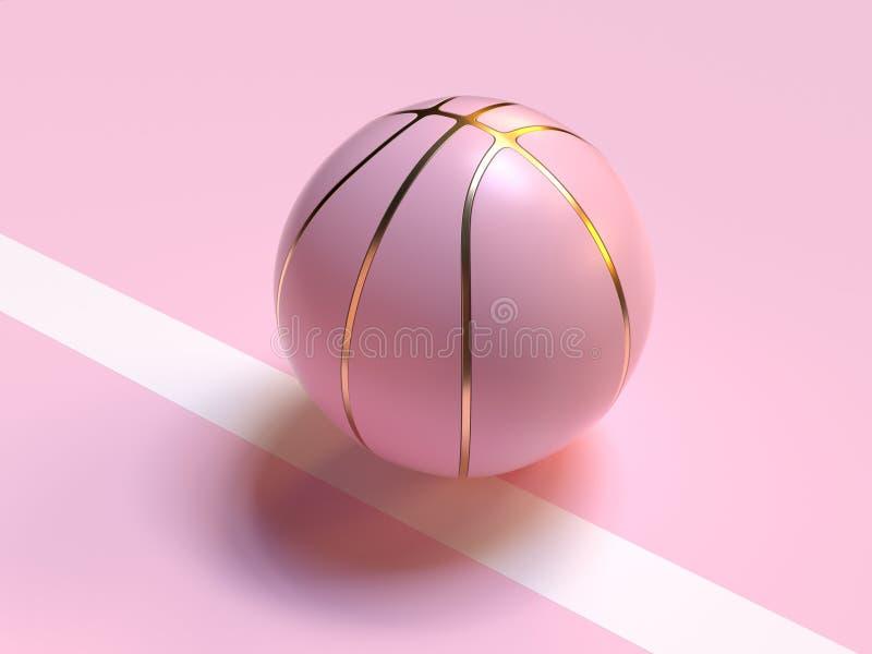 la bola abstracta del oro en colores pastel rosado/el baloncesto 3d rinde concepto del objeto del deporte stock de ilustración