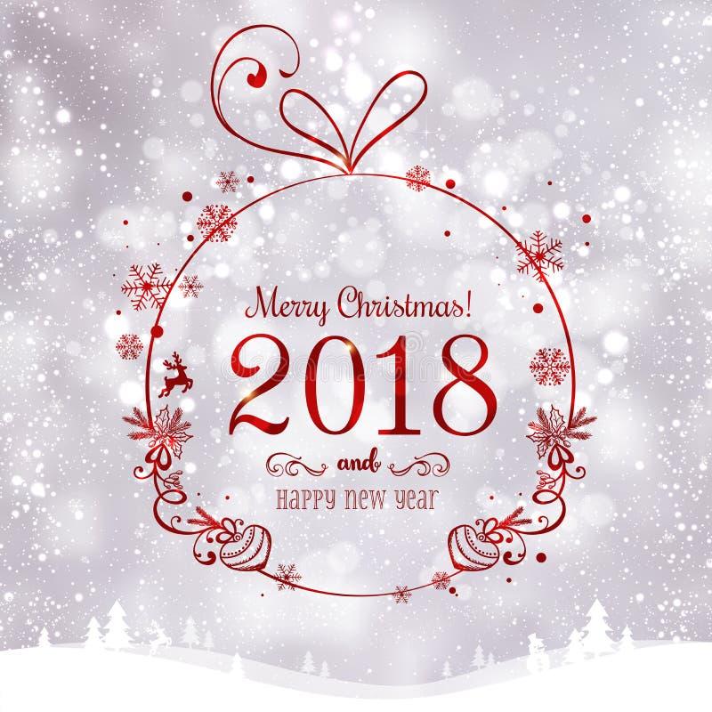 La bola brillante de Navidad por la Feliz Navidad 2018 y el Año Nuevo en fondo de los días de fiesta con el paisaje con los copos libre illustration