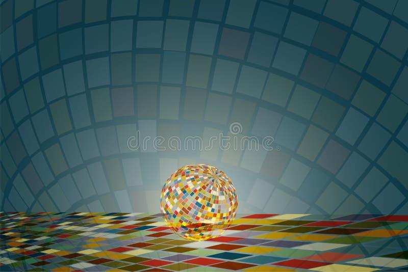 La bola de discoteca chispeante en el suelo de baldosas cuadrado colorido con la reflexión colorida brilla y se separó alrededor  imagenes de archivo