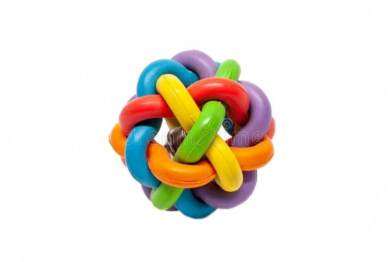 La bola de goma multicolora del juguete de muchos se entrelaza foto de archivo