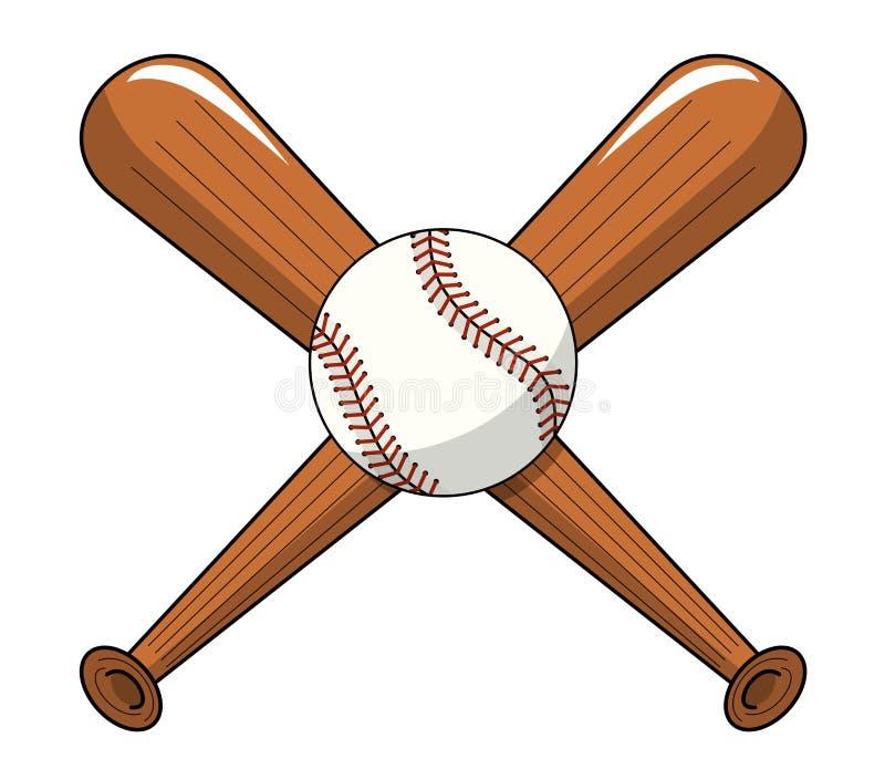 La bola del béisbol cruzó vector de la historieta del logotipo de los palos de madera aislada libre illustration