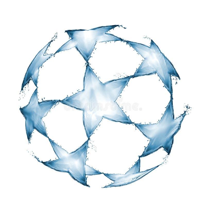 La bola del fútbol hecha del agua salpica en la forma de un logotipo de la UEFA aislado en el fondo blanco stock de ilustración