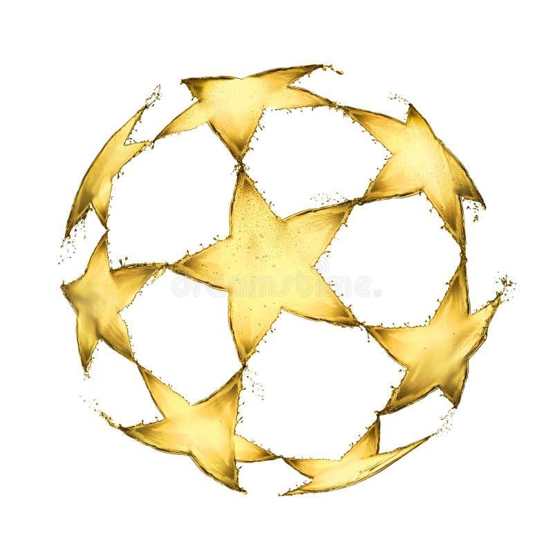 La bola del fútbol hecha de la cerveza salpica en la forma de un logotipo de la UEFA aislado en el fondo blanco libre illustration