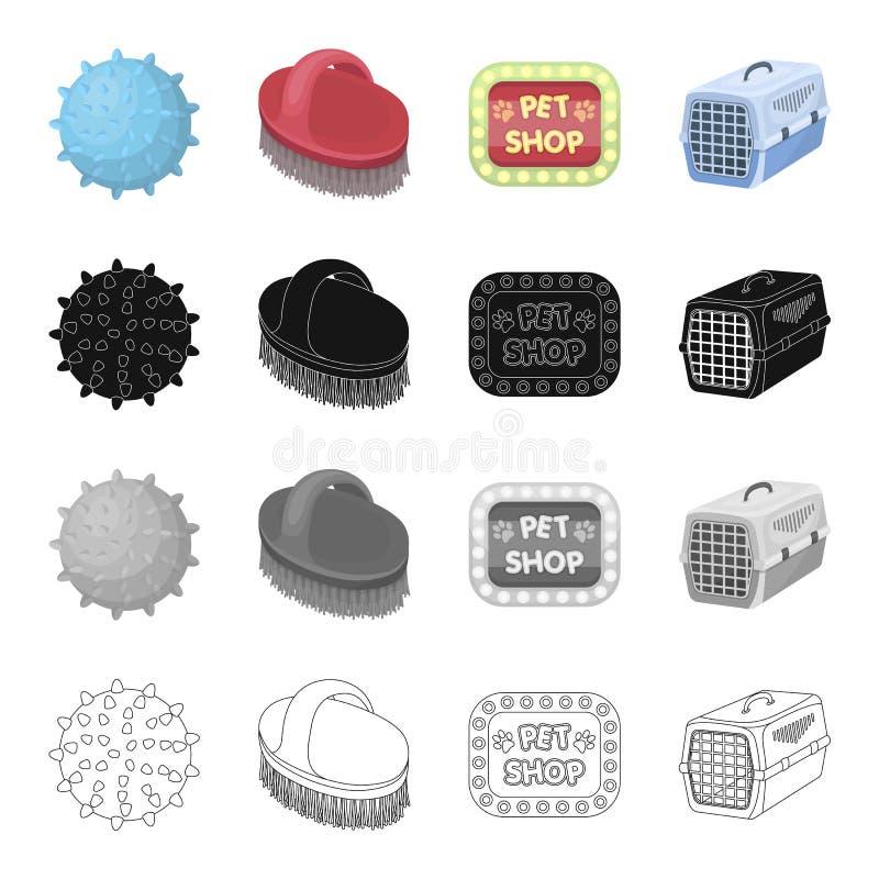 La bola, el caucho, el juguete, y el otro icono del web en estilo de la historieta Mercancías, tienda de animales, compra, iconos libre illustration
