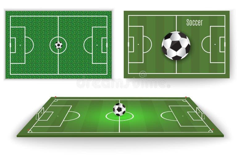 La bola miente en la hierba Un partido de fútbol Ilustración del vector Una bola hermosa y una hierba verde Aviador de la liga de libre illustration