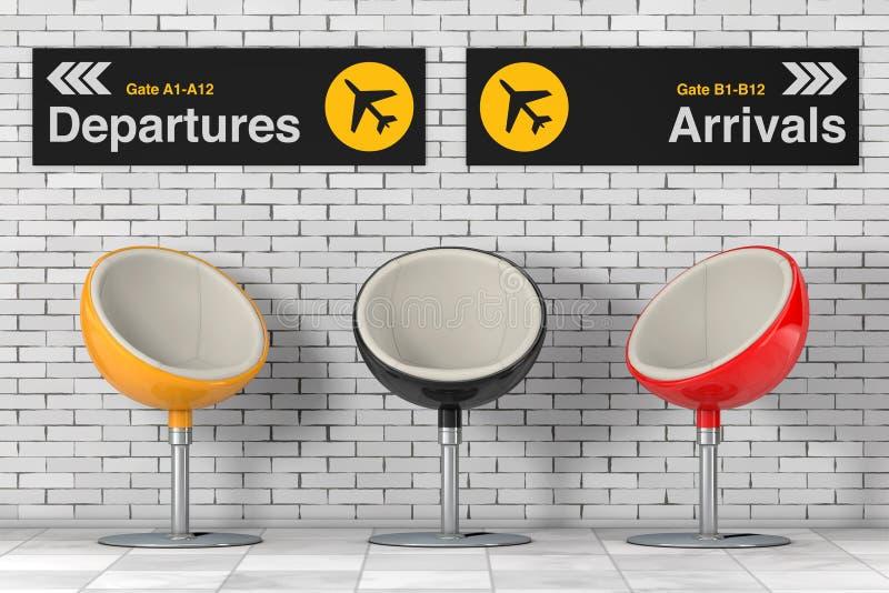 La bola multicolora moderna preside cerca de salidas y de Arriva del aeropuerto ilustración del vector