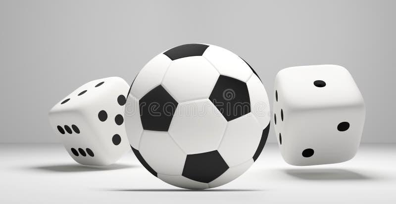 La bola y el balanceo del fútbol del fútbol corta el isolat blanco de la representación en cuadritos 3d ilustración del vector