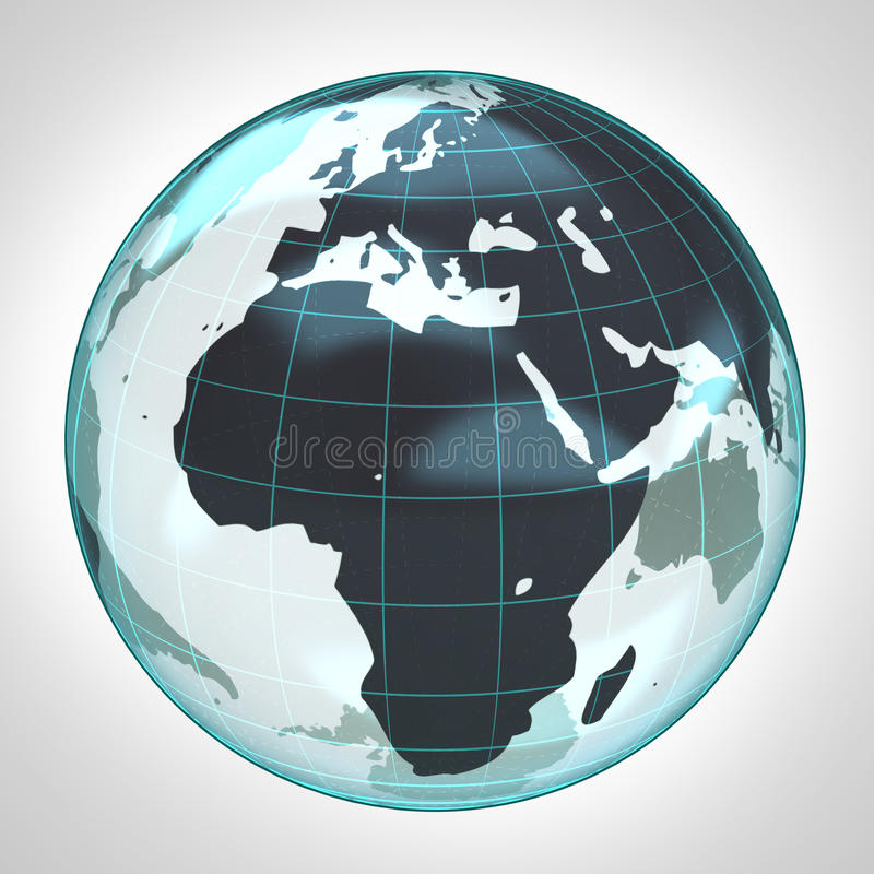 La bolla della terra del globo del mondo ha messo a fuoco in Africa ed Europa illustrazione vettoriale
