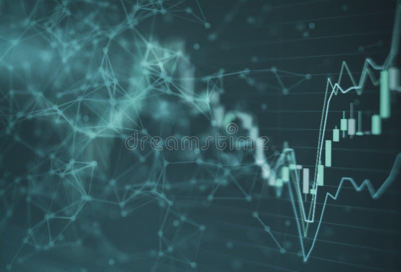 La bolsa de acción comercial de la inversión de la carta del gráfico del mercado de acción con la línea de la red muchos diversos fotos de archivo